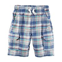 Toddler Boy Carter's Plaid Pattern Pull-On Cargo Shorts