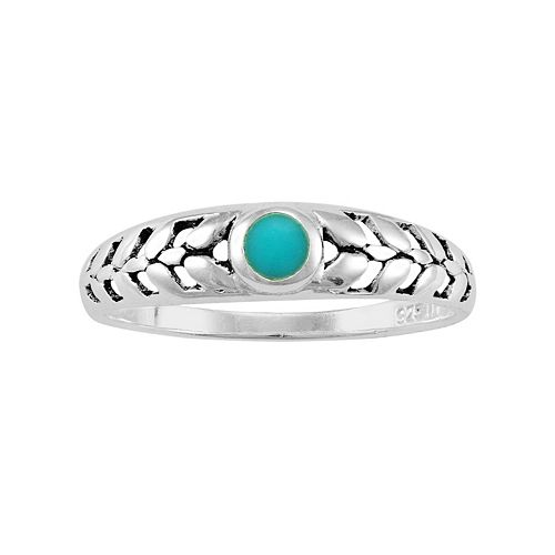 Sterling Silver Simulated Turquoise Leaf Ring