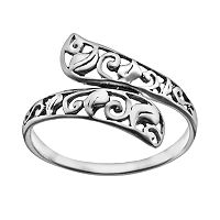 Sterling Silver Filigree Bypass Ring