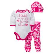 Baby Girl Chicago Bears 3 pc Bodysuit, Pants & Cap Set
