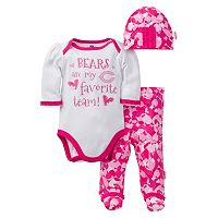 Baby Girl Chicago Bears 3-Piece Bodysuit, Pants & Cap Set