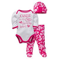 Baby Girl Kansas City Chiefs 3-Piece Bodysuit, Pants & Cap Set