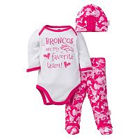 Baby Girl Denver Broncos 3-Piece Bodysuit, Pants & Cap Set