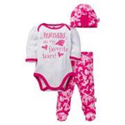 Baby Girl Carolina Panthers 3 pc Bodysuit, Pants & Cap Set