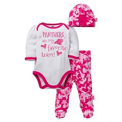 Baby Girl Carolina Panthers 3 pc Bodysuit, Pants & Cap Set