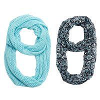 Girls 4-16 2 pkPrinted Foil & Solid Knit Scarves