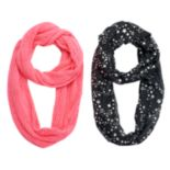 Girls 4-16 2-pk. Printed Foil & Solid Knit Scarves