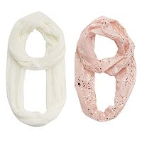 Girls 4-16 2 pkPrinted Foil & Solid Knit Scarves