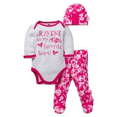 Baby Girl Baltimore Ravens 3 pc Bodysuit, Pants & Cap Set