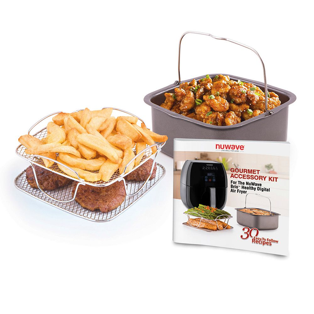 NuWave Brio Gourmet Accessory Kit for 3-qt  Air Fryer As Seen on TV