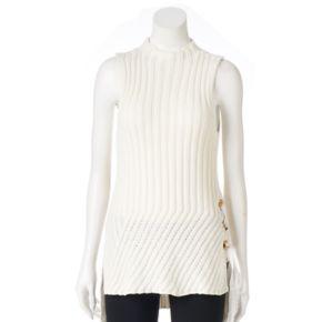Petite Jennifer Lopez Lace-Up Sleeveless Sweater
