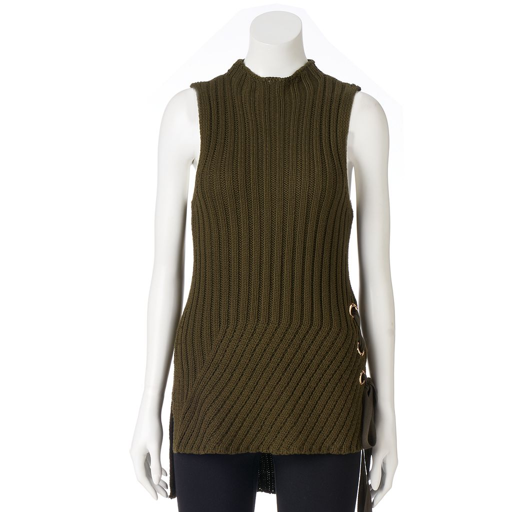Petite Jennifer Lopez Lace-Up Sleeveless Sweater