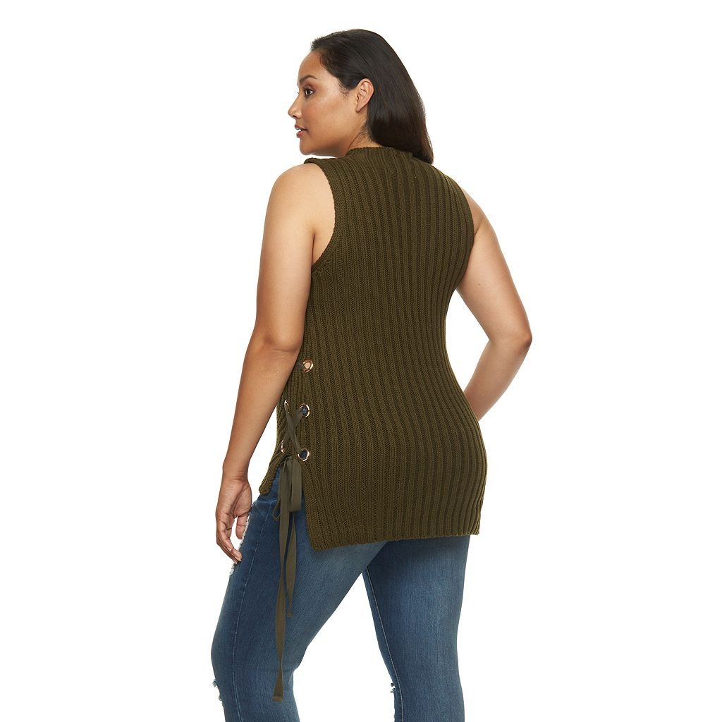 Plus Size Jennifer Lopez Lace-Up Sleeveless Sweater
