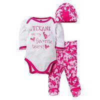 Baby Girl Houston Texans 3 pc Bodysuit, Pants & Cap Set