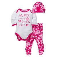 Baby Girl New Orleans Saints 3-Piece Bodysuit, Pants & Cap Set