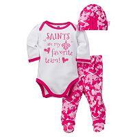 Baby Girl New Orleans Saints 3 pc Bodysuit, Pants & Cap Set