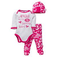 Baby Girl San Francisco 49ers 3-Piece Bodysuit, Pants & Cap Set