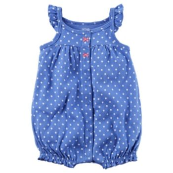Baby Girl Carter's Polka-Dot Embroidered Crab Romper