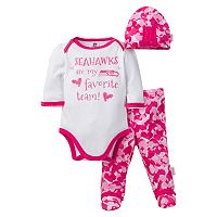 Baby Girl Seattle Seahawks 3-Piece Bodysuit, Pants & Cap Set
