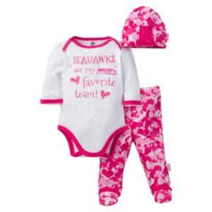 Baby Girl Seattle Seahawks 3-Piece Bodysuit, Pants & Cap Set