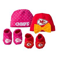 Baby Girl Kansas City Chiefs 4-Piece Cap & Crib Shoes Set