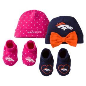 Baby Girl Denver Broncos 4-Piece Cap & Crib Shoes Set