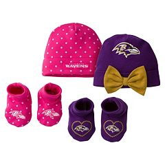 Baby Girl Baltimore Ravens 4 pc Cap & Crib Shoes Set