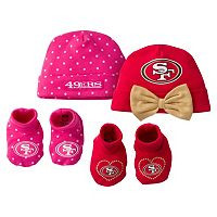 Baby Girl San Francisco 49ers 4-Piece Cap & Crib Shoes Set