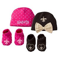 Baby Girl New Orleans Saints 4-Piece Cap & Crib Shoes Set