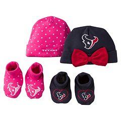 Baby Girl Houston Texans 4 pc Cap & Crib Shoes Set