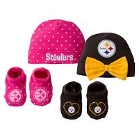 Baby Girl Pittsburgh Steelers 4-Piece Cap & Crib Shoes Set