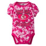 Baby Girl Kansas City Chiefs Loves Football Camo Bodysuit