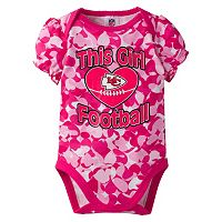 Baby Girl Kansas City Chiefs Loves Football Camo Bodysuit