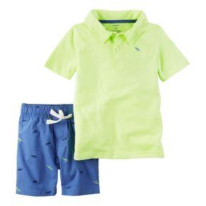 Toddler Boy Carter's Neon Polo Shirt & Dinosaur Embroidered Shorts Set