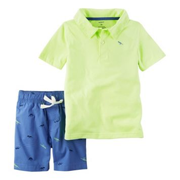 Toddler Boy Carter's Neon Polo Shirt & Dinosaur Embroidered Shorts Set