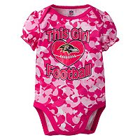 Baby Girl Baltimore Ravens Loves Football Camo Bodysuit
