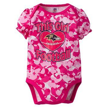 Baby Girl Baltimore Ravens Loves Football Camo Bodysuit