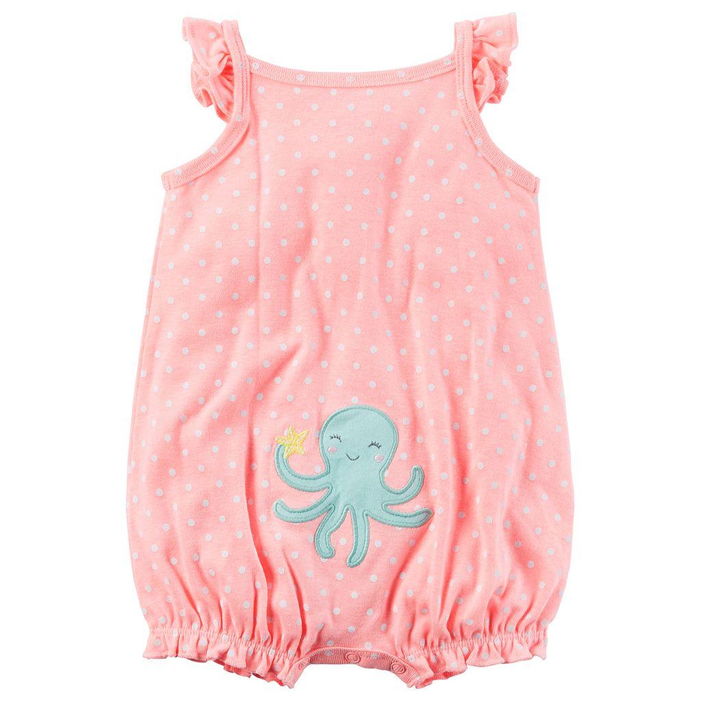 Baby Girl Carter's Polka-Dot Embroidered Octopus Romper