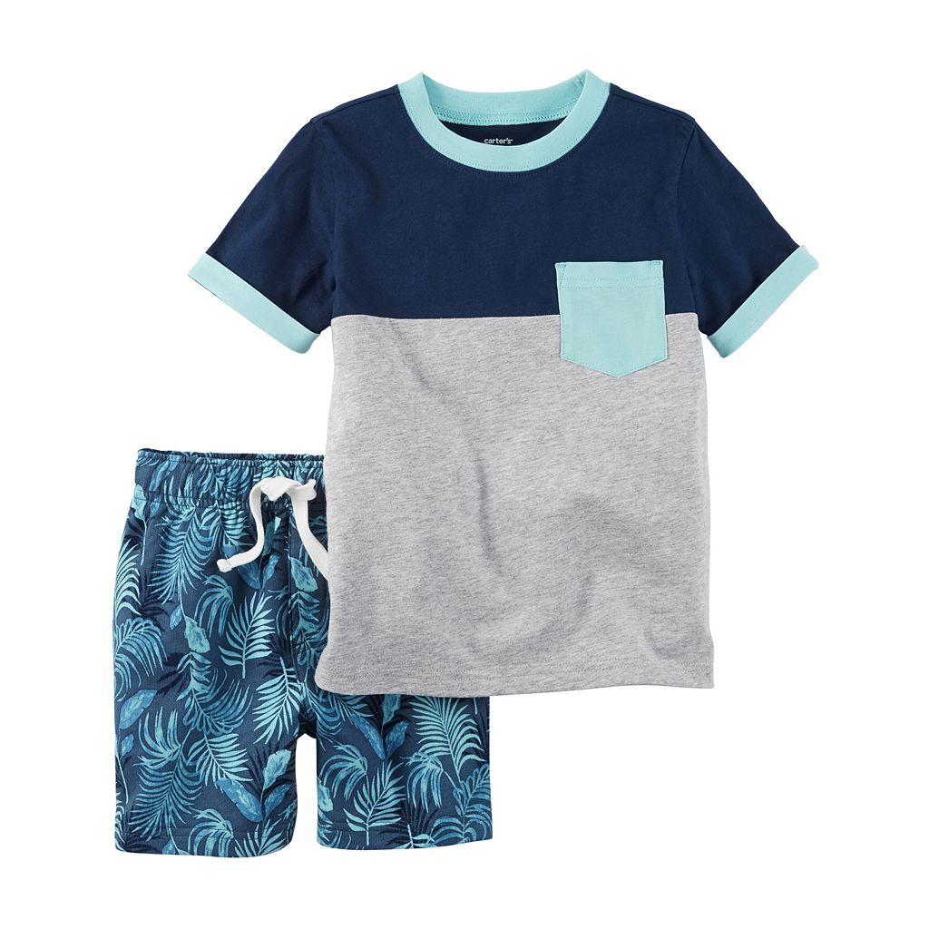 Toddler Boy Carter's Short Sleeve Colorblock Pocket Tee & Palm Print French Terry Shorts Set