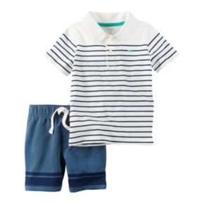 Toddler Boy Carter's Striped Polo & French Terry Shorts Set