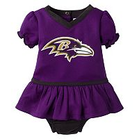 Baby Girls Baltimore Ravens Dazzle Dress & Diaper Cover Set