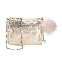 Girls Shimmer Crossbody Purse with Pom Keychain