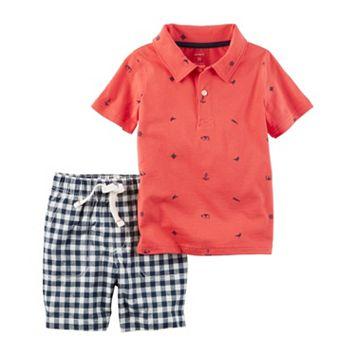 Toddler Boy Carter's Beach Theme Print Polo Shirt & Gingham Plaid Shorts Set