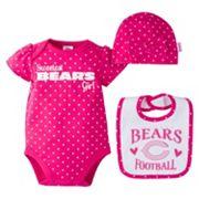 Baby Girl Chicago Bears 3 pc Bodysuit, Bib & Cap Set