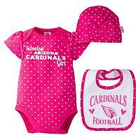 Baby Girl Arizona Cardinals 3 pc Bodysuit, Bib & Cap Set
