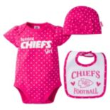 Baby Girl Kansas City Chiefs 3-Piece Bodysuit, Bib & Cap Set