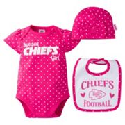 Baby Girl Kansas City Chiefs 3 pc Bodysuit, Bib & Cap Set
