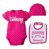 Baby Girl San DiegoChargers 3-Piece Bodysuit, Bib & Cap Set