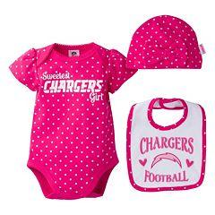 Baby Girl San DiegoChargers 3 pc Bodysuit, Bib & Cap Set