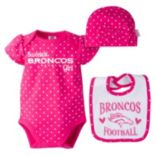 Baby Girl Denver Broncos 3-Piece Bodysuit, Bib & Cap Set